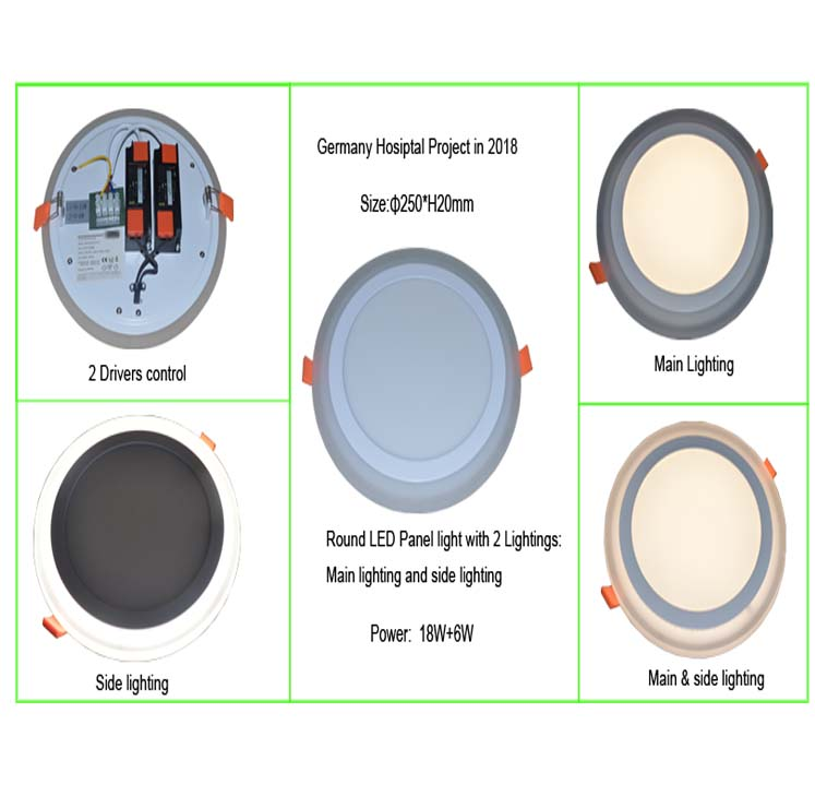 Round led panel with 2 drivers